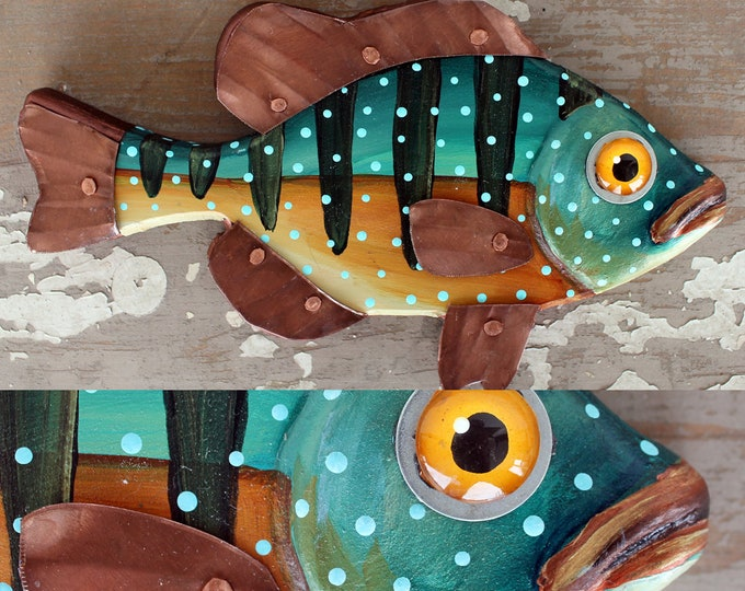 "CeCe 10"", Sunfish Minnow, Happy Hand-Painted Wood Fish Wall Art,Copper Fins, Colorful Folk Art, Made in Vermont, Fish Sculpture, Unique Gift"