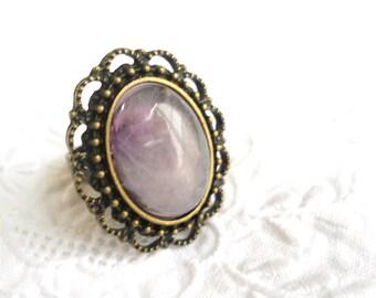 amethyst ring bronze boho ring amethyst cabochon ring bronze ring purple ring gemstone ring cottage chic adjustable ring