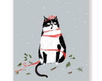 Seasons Greetings - Christmas Cat Card - Tuxedo Cat
