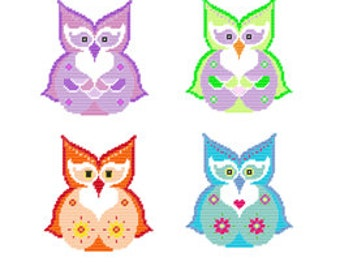 Plastic Canvas Pretty Paisley Owls Set Wall Hangings PDF Instant Download