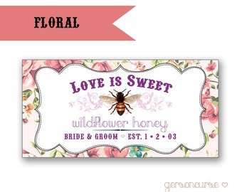 Personalized Floral Honey Label Designs - Love is Sweet - Rectangle / DIGITAL FILE
