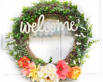 Welcome Wreath | Warm Colors + Greenery Wreath | Spring Wreath | Summer Wreath | Greenery Wreath | Grapevine Wreath | Front Door Wreath