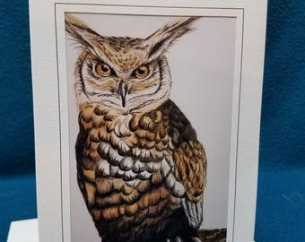 "Set of 10 5""x7"" original art owl blank note cards with matching envelopes."