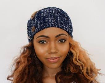 Satin Lined Head Wrap, Messy Bun Wrap Headband, Giselle Ear Warmer Head Wrap, Winter Knit headband - Navy & Cream or CHOOSE color
