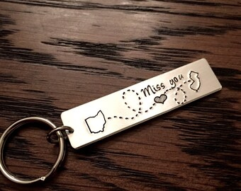 Long Distance Relationship State Keychain - Choose Your States