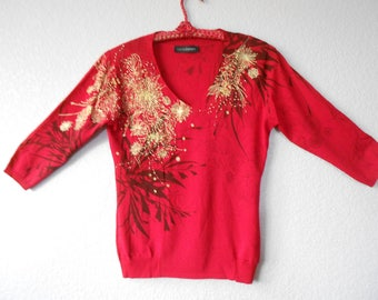 Cecilia Benetti Embellished pullover red knit top 3/4 sleeve/Knit top/Red Knit top/Embellished knit top/Size