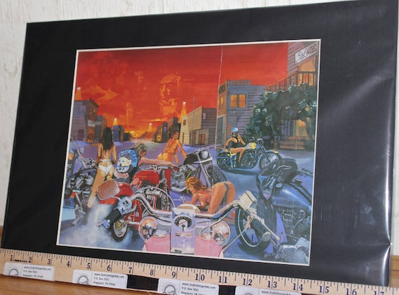 "Easyriders Sturgis ""Bleu Bear"" by Marc Daniel Matted Biker Motorcycle Art #9308ezrmdm"