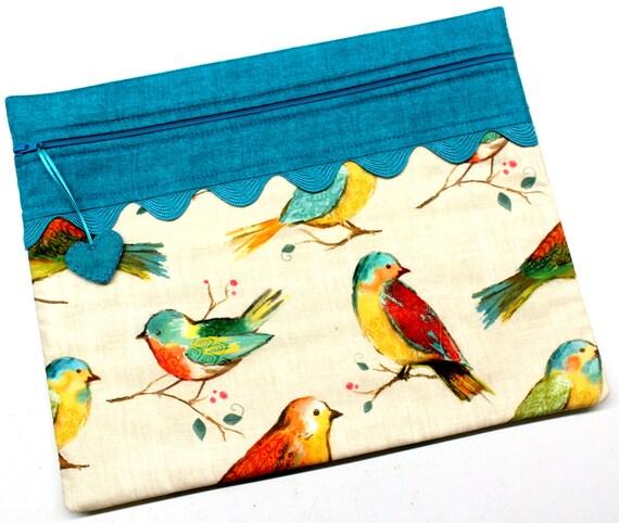 Teal Summer Birds Cross Stitch Project Bag