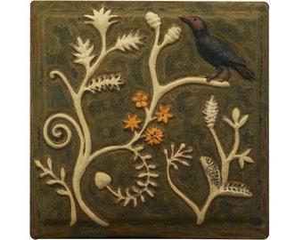 "Persian Ceramic Tile- 6"" x 6"" in Moss Green Glaze"