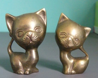 Two Small Brass Cats