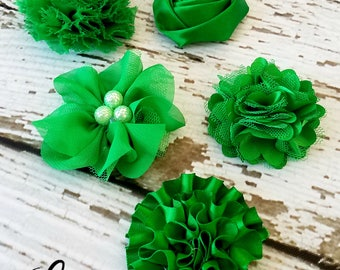 Emerald Green Flowers - Set of 5 Fabric Flower Appliques - St. Patrick's Day Assortment - DIY Baby Headband Flowers - Crafting Supplies