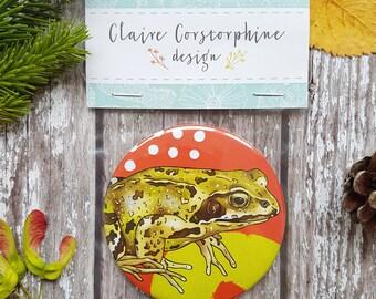 Nature Lover Gift - Stocking Filler - Frog Gift - Pocket Mirror - Frog Print - Beauty Gift - Gift For Her - Nature Print - Secret Santa