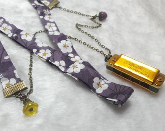 Liberty purple & yellow gold Harmonica necklace