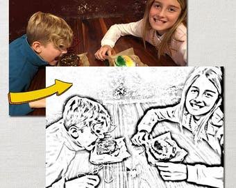 Custom Coloring Page Made From Your Personal Photo