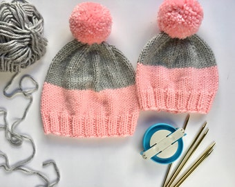 Mommy and me hats set - custom made - mother and daughter winter hats set - simple knitted hats - chunky beanie  - mommy daughter