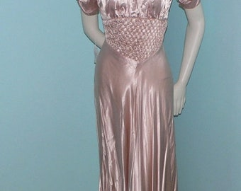 ON SALE 1930s Liquid Satin Pale Pink Gown Bias Cut with Smocking and Shoulder Pleats