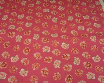 SIGNATURE CLASSICS, cotton fabric, by Oakhurst Textiles, Libby Florals, pink, pink flowers, one yard at 40 inches wide, mailed from Canada