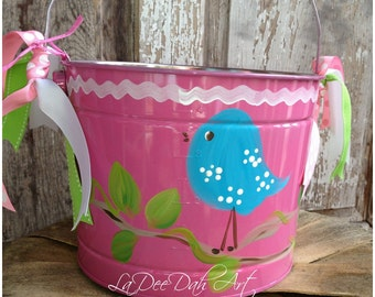 FREE SHIPPING!!Easter Bucket, Personalized, Hand-Painted, Tin, Pail, Easter Pail, Easter Basket with Bird