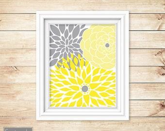Yellow Grey Floral Flower Burst Wall Art Gray Bathroom Bedroom Livingroom Nursery Decor Printable 8x10 Digital JPG Instant Download (10)