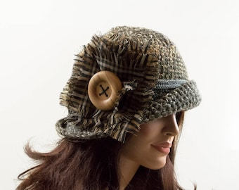 Crochet Cloche Hat with Large Wood Button - Gray, Beige, Size M/L