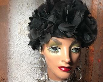 Stunning Black Nylon  Petal Hat