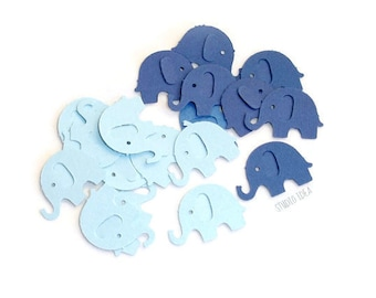 120 Mixed Blue  Elephant Cut outs, Confetti - Set of 120 pcs