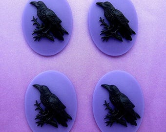 4 Gothic Black on Purple Crow Raven Blackbird Black Bird Witch Wiccan Voodoo Goth Emo 40mm x 30mm Resin CAMEOS LOT for Costume Jewelry
