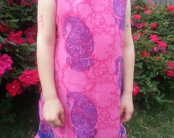 Mother Daughter Matching - Toddler and Little Girls Lined Sleeveless Sari Silk Dress - Pink Princess - Meredith 3076