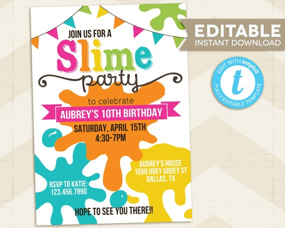 slime party invitation    slime birthday party invitation