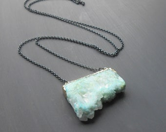 Long Druzy Pendant Necklace, Oxidized Sterling Silver Chain with Gold Plated Agate Slice