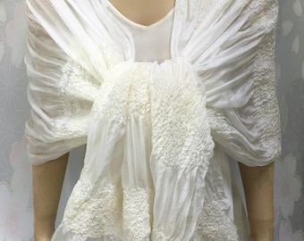 Nuno Felt Wedding Shawl - In Stock Fast Ship - summer weight ruched silk Bohemian Bridal Wrap