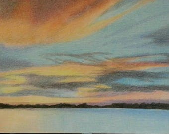 River ViewSunset  Colir Pencil 9 by 12 inch on paper