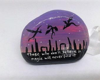 BELIEVE IN MAGIC, dragons flying over standing stones, Roald Dahl quote, art rocks, fantasy painting, believe stone