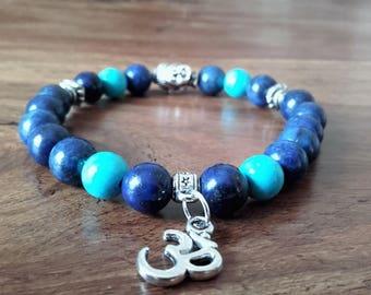 """Bracelet """"Joy"""" lapis lazuli, turquoise, Pearl """"Buddha"""" and """"Om"""" charm, 19 cm"""