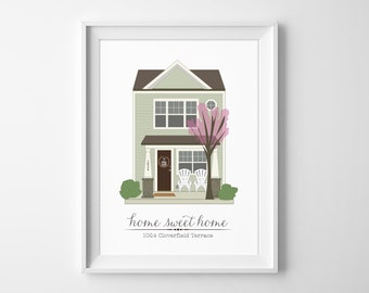 Town House Portrait Illustration Custom Print - Home Sweet Home Drawing - Realtor Gift, Anniversary, Christmas, Holiday, or Homeowner Gift