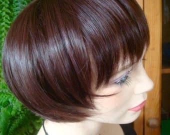 womens short dark brown wig synthetic