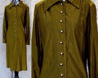 70s Vintage Dress   Olive Green Dress   Metallic Dress   Disco Dress   Long Sleeve Dress   Medium Dress M   Size 8 Dress   70s Party Dress