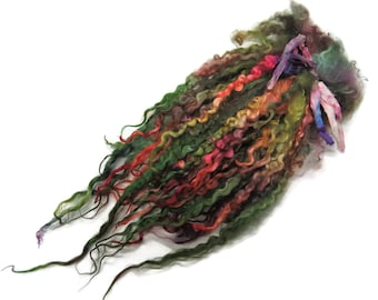 """1oz Premium Hand picked Teeswater wool locks, 12""""-14"""", Extreme locks for tailspinning and felting  (16D)"""