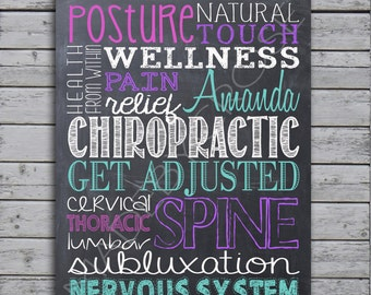 Personalized Chalkboard Chiropractic Subway Art Print