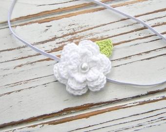 Baby Flower Headband - Baby White Flower Headband - White Flower Headband - Baby Headband