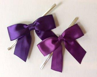 12 Eggplant or Plum Purple Pre-made Bows