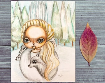 The White witch from the Chronicles of Narnia and her Wolves original drawing