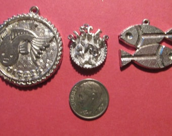 Three Pewter Pisces Zodiac Pendants