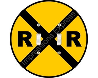 Railroad Crossing Sign Double Toggle Switch Plate Cover
