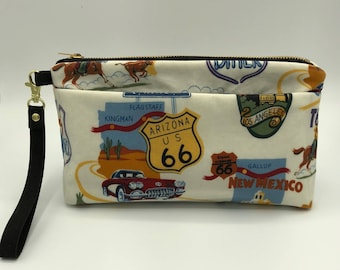 Waxed Cotton Clutch - Route 66 Fabric
