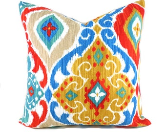 Indoor Outdoor Pillow Covers ANY SIZE Decorative Pillows Turquoise Pillows Richloom Outdoor Fresca Fiesta