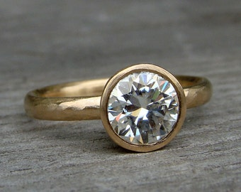 Moissanite Ring - Engagement or Wedding Ring - Forever One G-H-I Moissanite and Recycled 14k Yellow Gold - Matte / Brushed - Made To Order