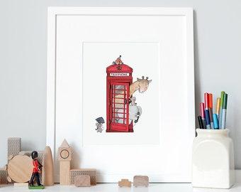 British Telephone, UNFRAMED Iconic Nursery Art, Fine Art Print, for Children's room, Red Phone Box, London Theme, Nursery wall art