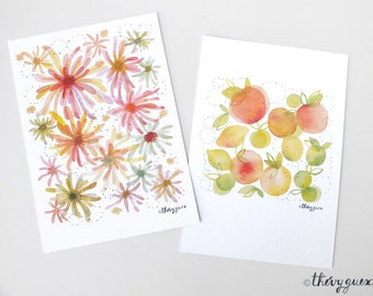 Orange flower citrus watercolor postcard, Garden fruit illustration, Flower fruit card, Botanical art, Colorful stationery, Cute stationery