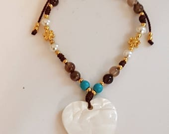 Heart bracelets, heart Seashell bracelet, Stones Hearts bracelets, mother of pearl bracelets, heart Charm bracelets, Bohemian bracelets, Cord bracelet